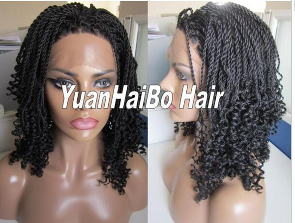 Synthetic braided Lace front Wig glueless heat resistant kinky twists full hand braided wig for black women free shipping