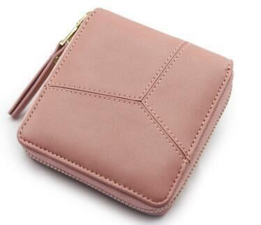 2017 Hot Selling ! Nice Patchwork Short Women Wallet Solid Color Zipper Wallet Clutch Bag Business Card Holder Lady Money Purse