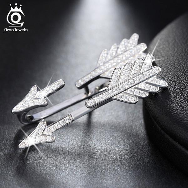 Lüks Ok Tasarım Gümüş Küpe Kaplamalı 51 Parça Parlak Avusturyalı Crystal Rodyum Kaplama Kadınlar için 925 Takı SE04