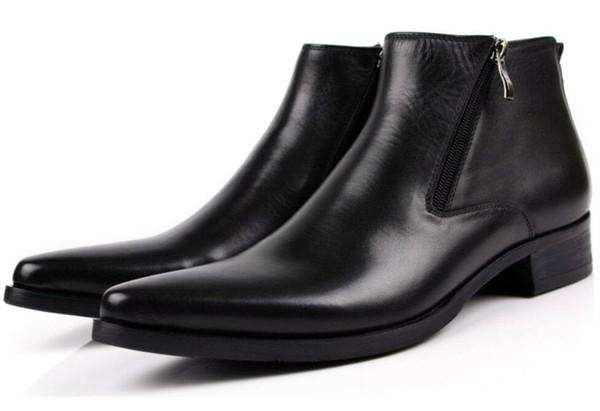 Acheter Hommes Bottes En Cuir Véritable Noir Pointed Toe Luxe Mode Bureau D'affaires Classique Formelle Bottines Hommes Chaussures Hommes De $166.41