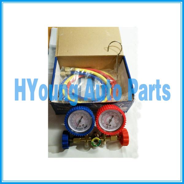 best selling HVAC auto Air Conditioner System R12 R134A R22 R502 Diagnostic Brass Manifold Gauge Set Quick Coupler