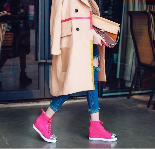 Elegant Women Fashion Height Increasing Wedge Boots 2017 Lace Up Real Suede Leather Crystal Boots Shoes British Style Boots Shoe