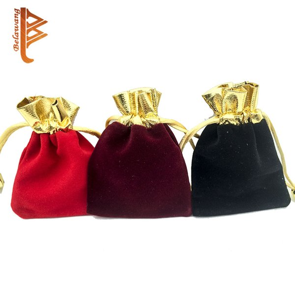 BELAWANG 3Color Free Shipping 7x9cm Velvet Drawstring Pouch Bag/Jewelry Bag,Christmas/Wedding Birthday Easter Party Halloween Party Gift Bag