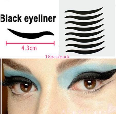Wholesale-80pcs / 5 packs Etiketler Seksi Kedi Gözler Sticker Siyah Eyeliner Çift Göz Kapağı Bant Dumanlı Dövme göz makyaj