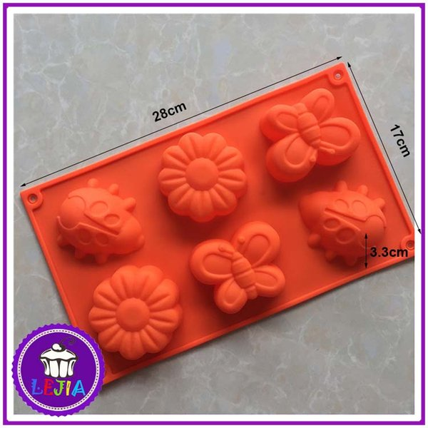 Flowers and insects shape 6 holes Silicone Mold Cake Decoration tools Food Grade cake soap chocolate pudding Moulds baking bakeware