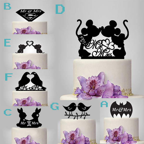 Romantic Party Favors Wedding Decoration Acrylic Black the Cake Topper Mr & Mrs Cake Accessory