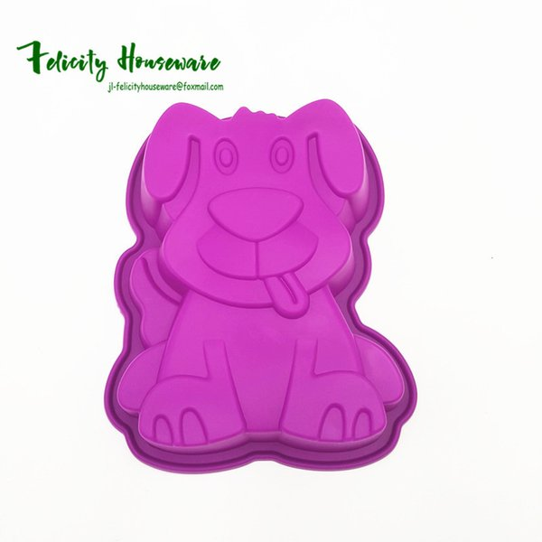 Wholesale Large Size Cute Puppy Shape Mold 3D Silicone Cake Mold Baking Tools Bakeware Maker Mold Tray Baking Soap Mould Free Shipping