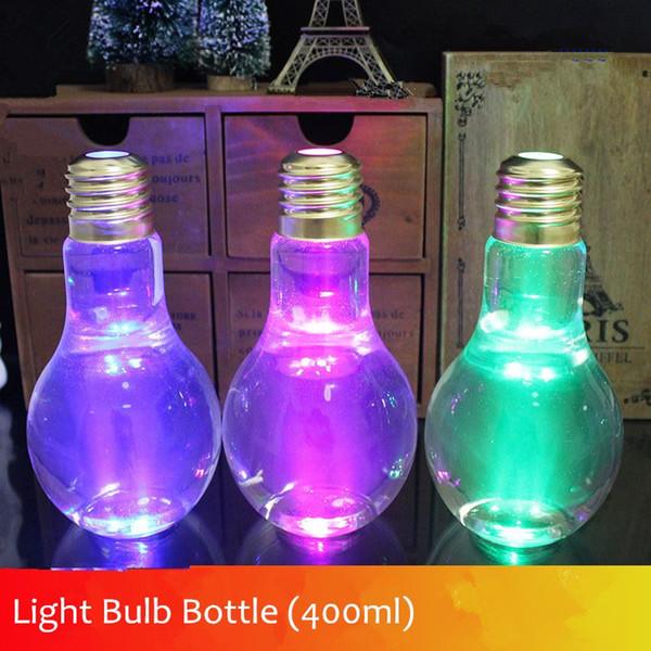 New Lamp Beverage Bottle Milk bulb bottle 400ml Creative Juice tea shop drink bottles with straw free shipping