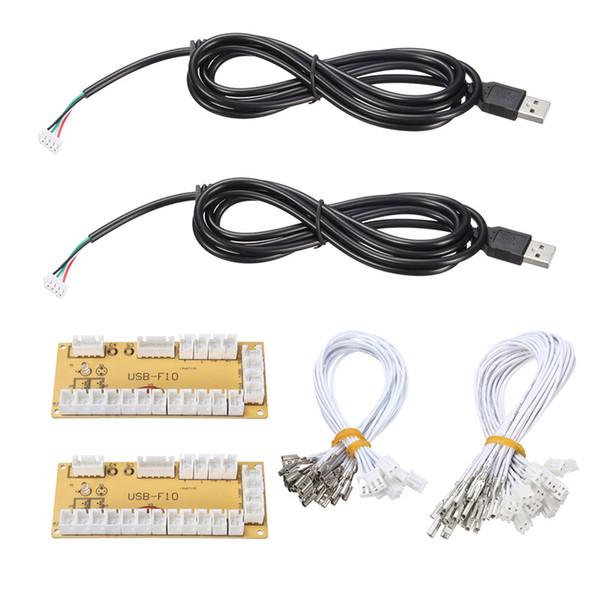 Großhandels-2Pcs / lot DIY null Verzögerung Arcade USB Encoder PC Joystick Ersatzteile USB Kabel Encoder Board + Drucktasten Kabel