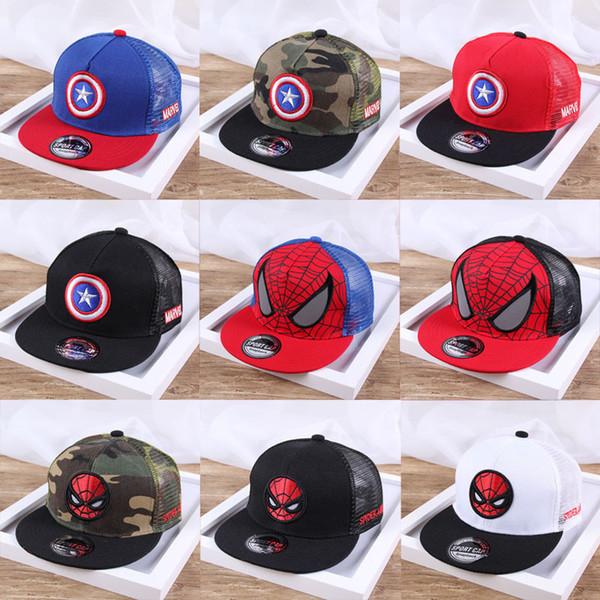 Children sun hat cap outdoor summer sun cool Captain America spider man flat along the peaked cap