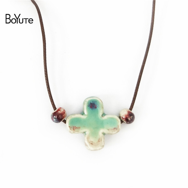 BoYuTe New 5Pcs Chinese Porcelain Ceramic Pendant Cross Necklace Women Ethnic Jewelry Women's Accessories Independent packing