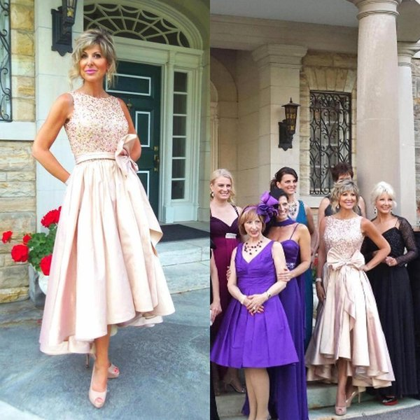 2017 Blush Pink Lace Taffeta Mother Of The Bride Dresses Cheap Jewel Pearls Sequins Bow Sash High Low Wedding Dress Plus Sizes EN110912
