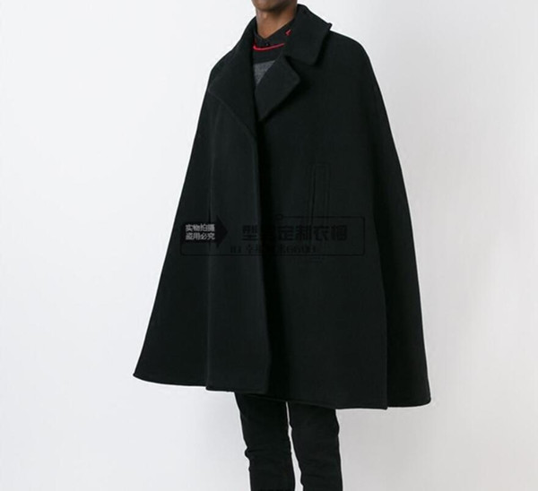 best selling Wholesale- Customize style New fashion Men cape coat loose long woollen overcoat woolen cloth thick coat autumn winter clothing