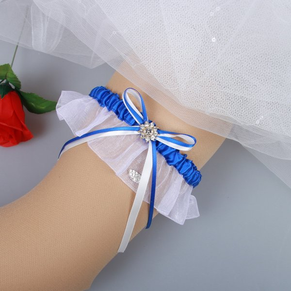 Royal Blue Prom Garter Something Blue Wedding Garter Bridal Garter with Rhinestones Bridal Leg Garters Prom Garters Free Shipping