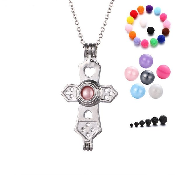Cross Pendant Necklace Aromatherapy Locket Women Openable Essential Oil Diffuser Necklace For Christians Christmas Gift Free Shipping