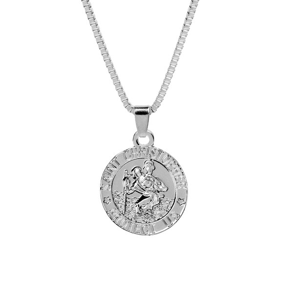 Round letters jewelry Jesus ChristiansTraveler's patron saint necklace fashion jewelry hot sale new arrival silver gold long necklace 162115