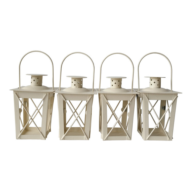 Cheap classic style Tea Light Holder Metal candle holder Small Iron lantern White Color candlestick holders gift Wedding decoration
