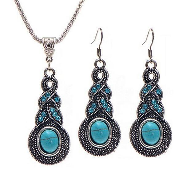 top popular Bohemian Jewelry Set Retro Pattern Blue Crystal Jewelry Turquoise Necklace Earrings jewelry set female free shipong whoelsale 2019