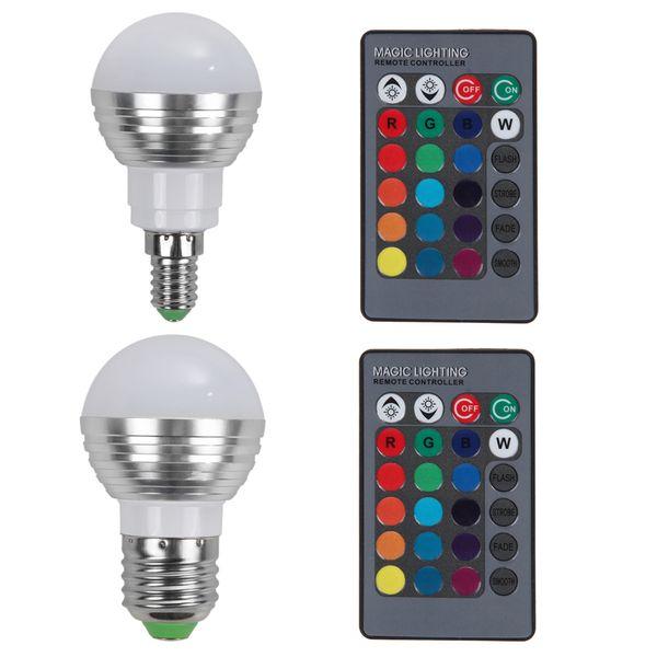 Al por mayor-DIU # 1pc E27 / E14 Lámpara LED RGB Bombilla AC110V 220V 5W LED RGB regulable mágica iluminación de vacaciones RGB con control remoto IR