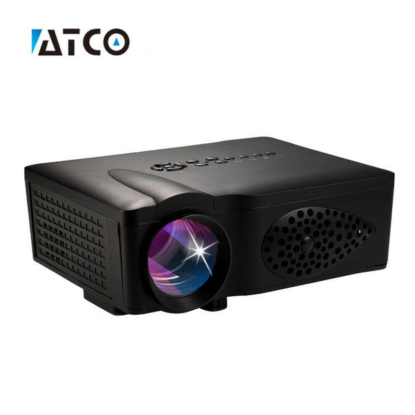 Wholesale-Newest 1600lumens cheap LED LCD Mini Video 3D 1080P Portable Pocket game Projector,Pefect For Home theater LCD Proyector ATCO