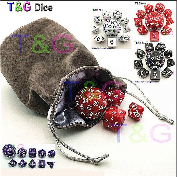 Wholesale 10pc/bag Dice Set T&G High quality d4,d6,d8,2xd10,d12,,d20,d24,d30,d60 dice rpg dungeon dragons d&d board game dados