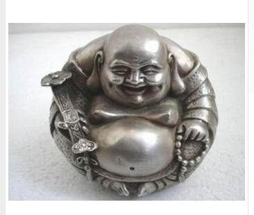 "Buddhism Collect Rare Tibet Silver ""happy ""Buddha Statue Tibetan Silver decoration bronze factory outlets"