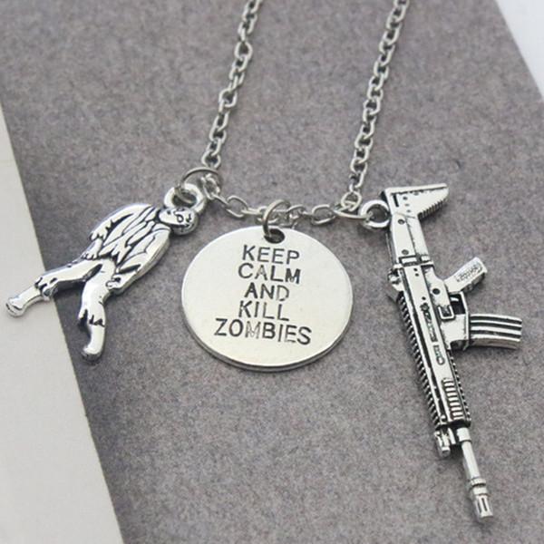 Jmyy Bijoux Nouveau Cool Hommes Collier Zombie Simulé Gun Collier Pendentif En Argent Plaqué Alliage Colliers Pour Hommes