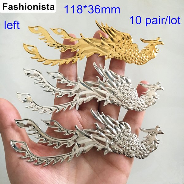 20 Pcs (10 pair) Metal Stamping Crafted Phoenix Bird 118*36mm Embellishments For Jewelry & Scrapbook,DIY Supplies