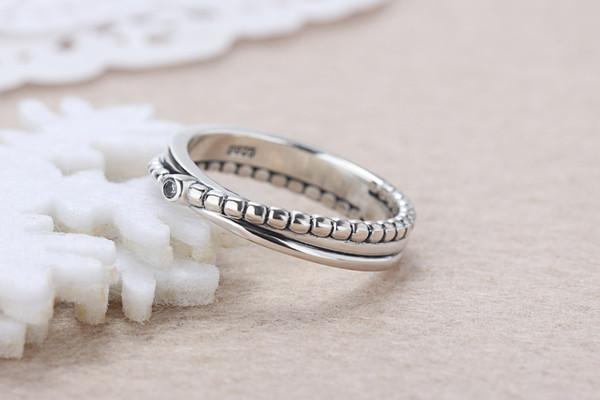 Оптовая 925 серебро ретро панк творческий кольцо Fit Pandora цирконий юбилей ювелирные