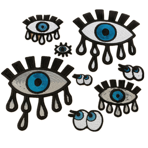 1 piece embroidered sequins patch eyes pattern iron on Zakka patchwork DIY