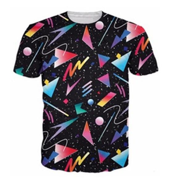 Novas Mulheres Da Moda / dos homens 3D Impressão Impressionante 80's Fueled Galaxy Formas Casuais Mangas Curtas T-shirt