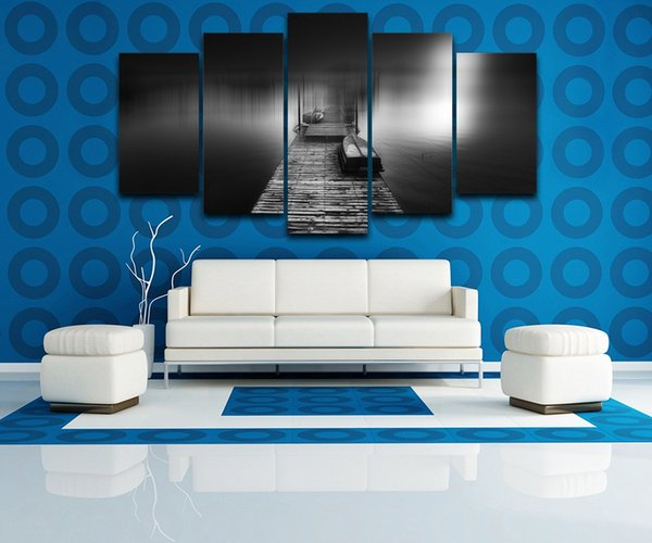 "Wooden Pier Bridge LARGE 60""x32"" 5Panels Art Canvas Print for Wall Modern Home Decor interior (No Frame)"