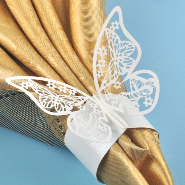 Wholesale- 100pcs White Butterfly Laser Cut Napkin Rings Holder Home Dinner Lunch Tables Servitte Wedding Birthday Party Decorations Favors