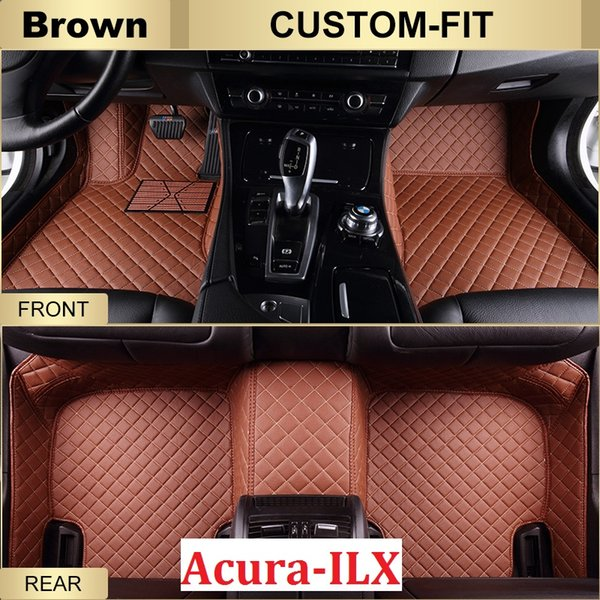 SCOT Custom Fit Leather Car Floor Mats for Acura ILX All Weather Waterproof Anti-slip 3D Front & Rear Carpet Left-Hand-Driver-Model