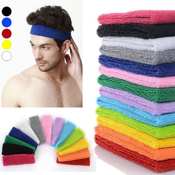 Wholesale- NEW Popular Women Men Color Sport Sweat Band Sweatband Headband Hair Band Yoga Band