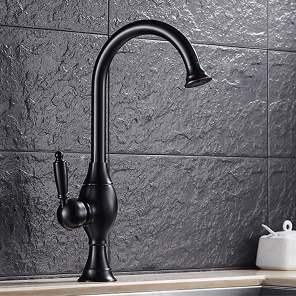 Free shipping Creativity black kitchen mixer tap with deck mounted brass kitchen sink tap of blackened kitchen sink water tap