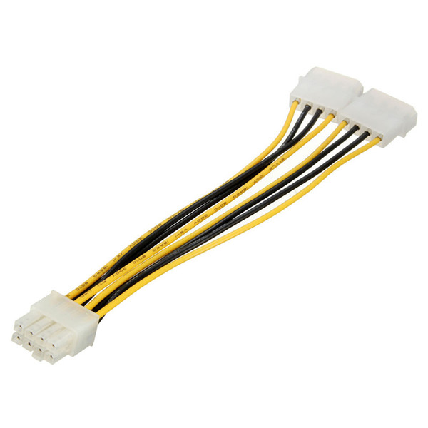 Wholesale- Wholesale 8 Pin to 2x 4 Pin CPU Power Converter Adapter Cable Wire For Hard Drives Connectors 5pcs