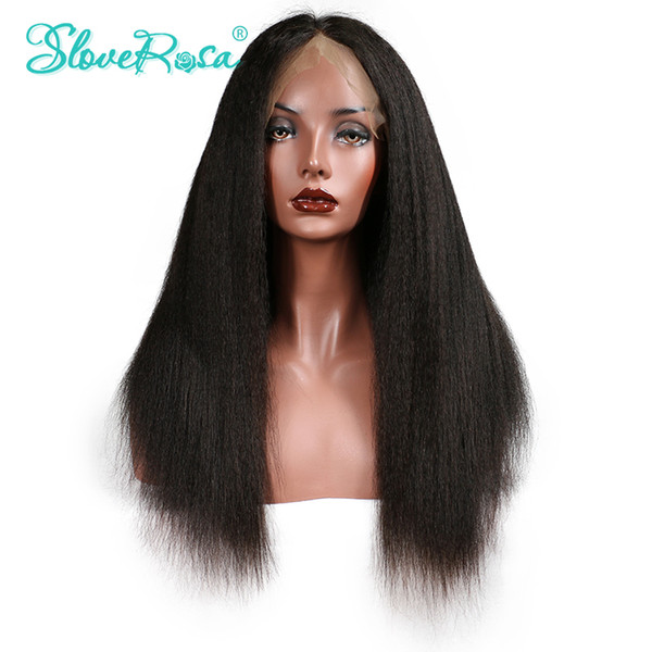 Slove Rosa Kinky Straight Wig Lace Front Human Hair Wigs Brazilian Remy Hair Wig For Black Women Natural Hairline With Baby Hair