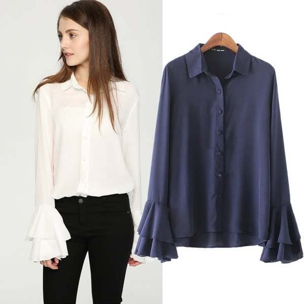 New women shirts blouses was thin ladies clothing speaker long sleeve designer lace plus size tops chiffon shirt tops for women