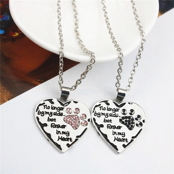 Women Necklace Heart Dog Paw No Longer By My Side Pendant Necklaces Rhinestone Alloy Silver Plated Sweet Necklace