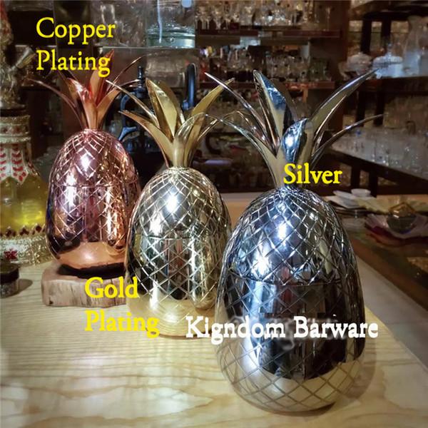 Venta al por mayor- vaso de piña / taza disponible en 3 colores (plata, cobre, oro) - copas de cóctel tazas herramienta de la barra