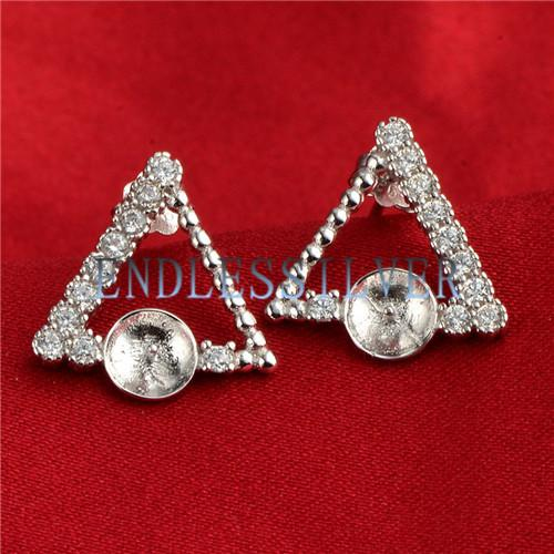 Triangle Geometric Designs Earring Settings Blank Base 925 Sterling Silver Zircon Jewellery Findings for Pearl Party