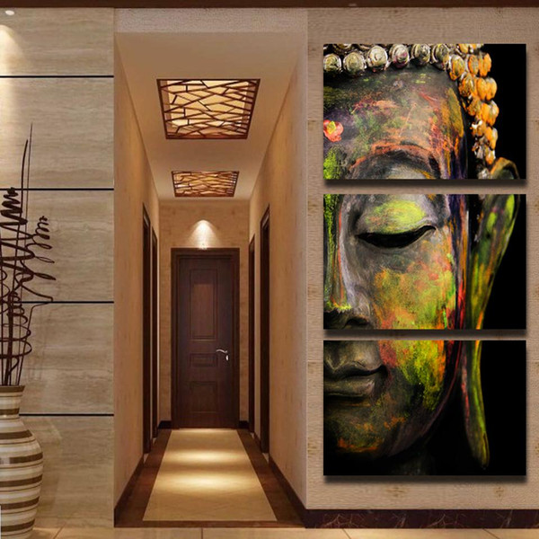 3P Framed Buddha Head,Handpainted Modern Abstract Wall religious Art Painting Canvas For Home Wall Decor Multi sizes Available Free Shipping