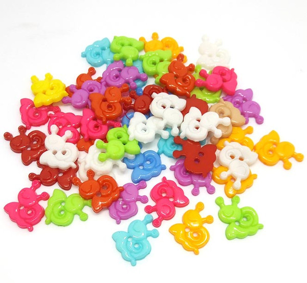 Free shipping 1000pcs mix color plastic two hole snail shape buttons 13mm*16mm for craft sewing children clothing