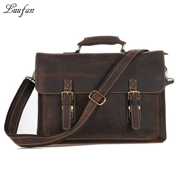 "Wholesale- Men's Vintage crazy horse Leather briefcase 15"" Real leather Business bag Cow leather Laptop messenger bag Brown work tote"