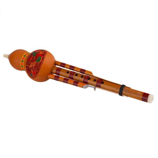 Wholesale- Chinese Yunnan Hulusi Gourd Flute Ethnic Musical Instrument With Gift Box Free shipping