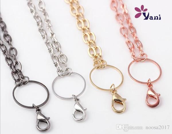 Collana lunga della collana delle donne di Rolo di modo di vendita caldo con i catenacci dell'aragosta per i gioielli Collane di catena di galleggiamento del medaglione di galleggiamento di vetro di DIY