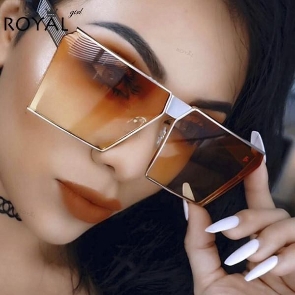 Wholesale-ROYAL GIRL 2017 New Color Women Sunglasses Unique Oversize Shield Sun glasses UV400 Gradient Shades Frames GLASSES #ss953