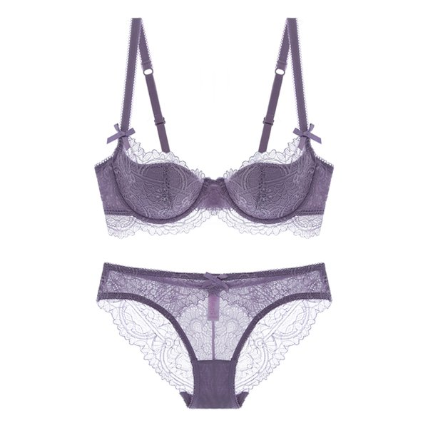 Full lace intimates 70-85 A-E cup sexy thin cup underwear set transparent women dress bra and panty set 4 colors big size