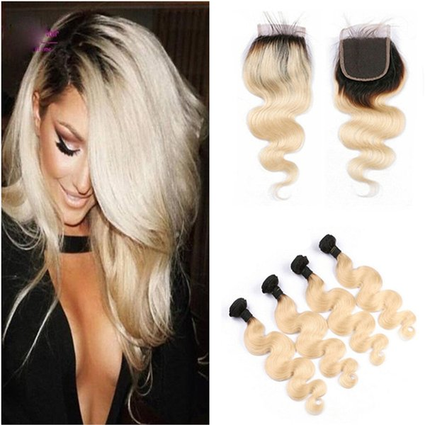 Ombre Blonde Hair Extensions With Closure 5Pcs Lot 1B 613 Dark Root Ombre Virgin Brazilian Human Hair Bundles With 4x4 Lace Top Closure